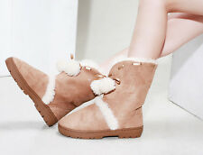 Women Sweet Candy Round Toe White Lining Warm Causal Low Heel Snow Boots