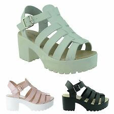 LADIES WOMENS CHUNKY LOW MID HEEL PLATFORM GLADIATOR WEDGES SANDALS SHOES SIZE