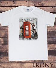 Mens White Banksy T-shirt Spy Booth -Red Telephone Booth Spies Graffiti TSA10