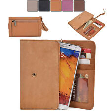 [XL4] Womens Genuine Leather Slim Smart-Phone Wallet Case Card Organizer Purse