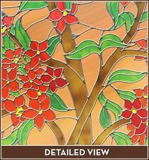 Red Flower Floral Adhesive-Free Stained Glass Window Film Cling Privacy/See-Thru