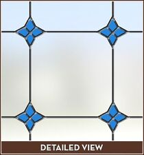 Blue Accents Adhesive-Free Stained Glass Window Film Cling Privacy/See-Thru
