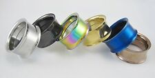 PAIR SCREW FIT STAINLESS STEEL TUNNELS EAR GAUGES PLUGS DOUBLE FLARE FLESH RING