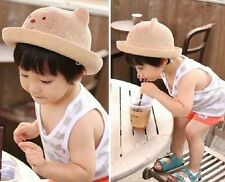 Fashion Girl Boy Beanies Girl Baby Children Straw Hat Bear Summer Cap Sun Hat