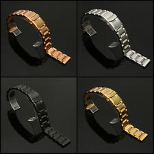 18mm Stainless Steel Watch Band Strap Double Lock Flip Bracelet Straight End -US