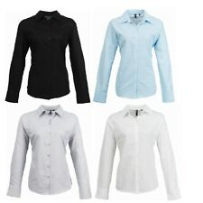 New Premier Womens Smart Oxford Ladies Long Sleeve Collared Shirt Top Size 8-26