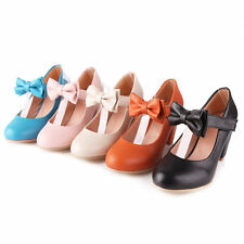 Sweet Color Candy Womens Mary Janes Pumps Heel Lolita Bowknot Shoes Plus Size