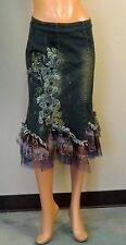 METALLIC BEAD STUD EMBROIDERY LACE FLORAL WEST 36TH DENIM BLUE JEANS SKIRT 9002