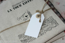shabby chic Old Fashioned rustic WHITE Reinforced DIY LUGGAGE blank tag labels
