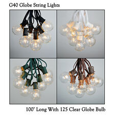 100 Foot G40 Outdoor Lighting Patio Party Globe String Lights-125 Clear Bulb Set