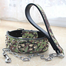 FREE SHIPPING Unisex Leather Studded Dog Collar&Chain Leash Lead SET Pitbull S-L