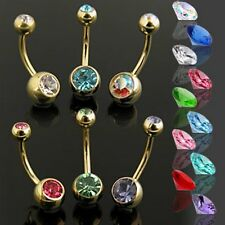 Gold Plated Surgical Steel Double Jewelled CZ Belly Bar / Navel Ring