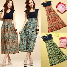 Vintage Women Ladies Casual Long Cocktail Evening Party Floral Summer Maxi Dress