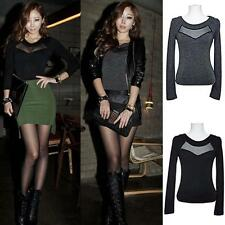Sexy Womens Long Sleeve Hollow Out Base Shirt Crew Neck T-shirt Clubwear Tops