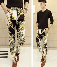 Hot Men's Punk Gothic Leopard Patterned Skinny Fit Quality Cool Pants Streetwear