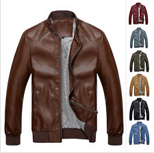 Fashion Men's new fall leather jacket faux leather motorcycle jacket coat