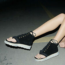 New P145 Korean Flat Black Hollow Lace with Denim Thick Crust Fish Head Shoes