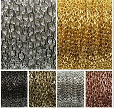 6 Colors 5m/100m Silver Golden Plated Cable Open Link Iron Metal Chain Findings
