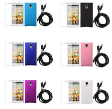 3In1 Hard Rubberized Plastic Cover Case+SP+USB Cable For Gionee Elife E7