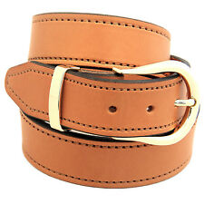 "1 1/2"" Light Brown English Bridle Leather Belt Decorative Stitching Buckle Set"