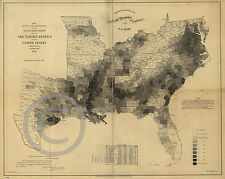 1861 Historical Map Black Slave Distribution in the South US  Largest Size