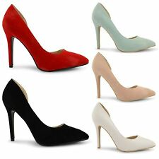 NEW LADIES FAUX SUEDE PU CUT AWAY HIGH HEEL EVENING PARTY SHOES PUMPS SIZE 3-8