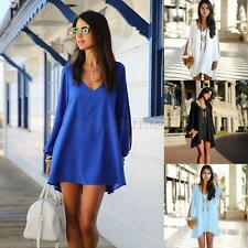 Sexy Deep V Neck Cut Out Long Sleeve Women Loose Cocktail Mini Dress 4 Colors