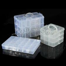 Clear Plastic Craft Beads Jewellery Storage Organiser Container Compartment Tool