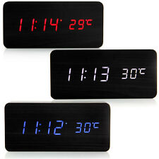 Modern Wooden LED Display Digital Alarm Desk Clock Thermometer