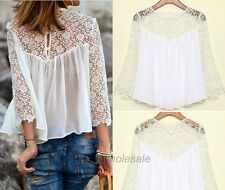 Fashion Summer & Fall Women Casual Lace Shirts Chiffon Blouses T Shirt Tops