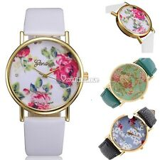 New Fashion Geneva Women Leather Rose Flower Wrist Watch Analog Quartz