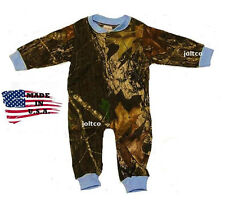 Mossy Oak Camo w/ Blue Trim Infant/Baby Creeper Outfit