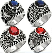 Men Military Ring Army Marine Airforce Navy Stainless Steel SZ 8 9 10 11 12 13
