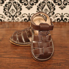 Boy Brown Toddler Squeaky Sandals, Size 3