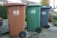 5 x WHEELIE BIN NUMBERS CUSTOM HOUSE AND ROAD/STREET NAME VINYL GRAPHIC STICKERS