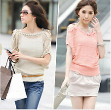Womens Off Shoulder Hollow Batwing Sleeve Knit Cardigan Sweater Jumper Pullover