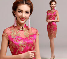 Chinese's Cheongsam Evening Prom Wedding Dress Ball Gown Embroidery Short skirt