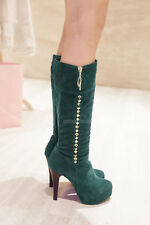 Fashion Womens Ladies Comfort High Heels Stilettos Shoes Knee High Boots AU Size