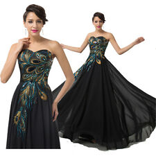 1 ※ New Cheap Long Black Peacock Prom Evening/Formal/Party/Cocktail/Prom Dress !