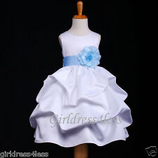 WHITE/SKY BLUE PARTY BABY PICK UP FLOWER GIRL DRESS 6M 12M 18M 2 4 6 8 10 12