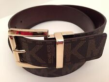 MICHAEL KORS Women's Belt Reversible Choco / Gold Buckle Sz Small Medium Large