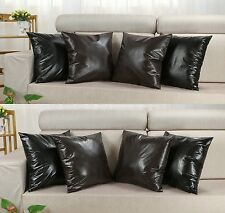 "18 X 18"" Vintage Faux Imitation Leather Black Brown Cushion Covers Pillows Shell"