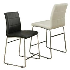 Modern Faux Leather Counter Height Bar Stool Dining Side Chairs Metal Legs x 2