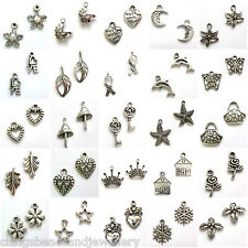 Tibetan Silver Charms Heart Hat Star Christmas Music Flower Leaf 50 Designs