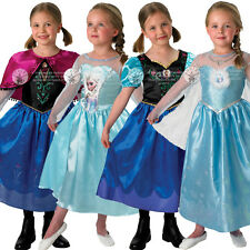 New Frozen Anna Elsa Costume & Wig Girls Disney Princess Kids Fancy Dress Outfit
