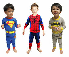 Baby Boys Kids Pajamas Sleepwear Home Wear Clothes Set Superman Batman Spiderman