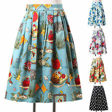 Retro 50s 60s floral Skirts Prom Beach Casual Housewife Short Half Dress Skirt