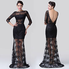 New Sexy Black Lace Applique Mermaid Formal Long Prom Evening Dress wedding Gown