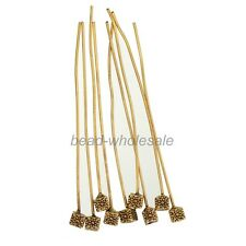 20pcs Mini Cube-shaped Antique Silver Golden Tone Long Head Pins Finding Jewelry