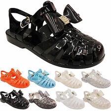 NEW WOMENS LADIES GIRLS CHILDRENS RETRO JELLY SANDALS SHOES FLIP FLOPS BEACH BOW